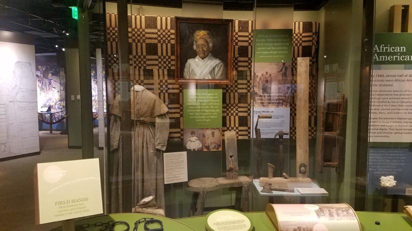 Figure 5. Display including slave shackles, Museum of Alabama.