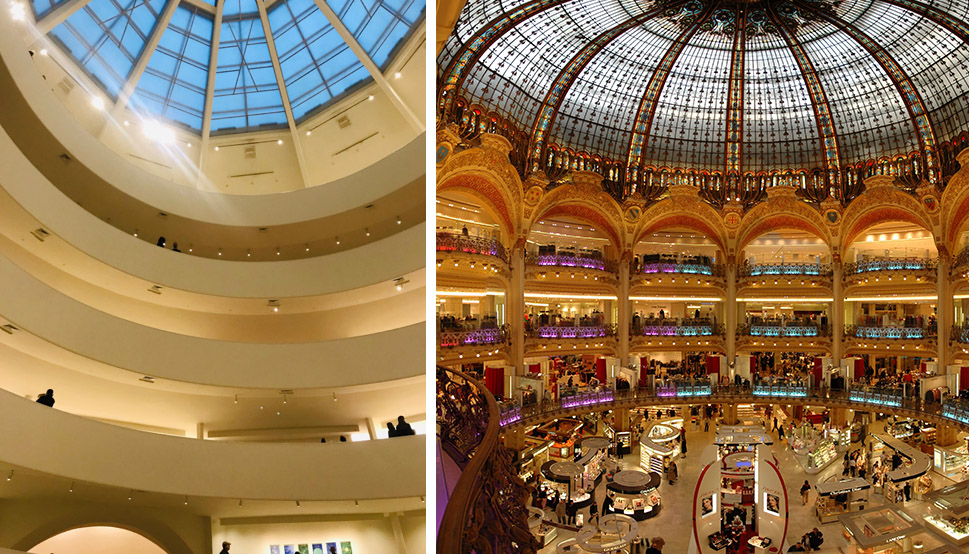 Figure 2. (Left) Interior of Guggenheim Museum, photo by author, (Right) Interior of Galeries Lafayette, photo by Wouter Hagens.