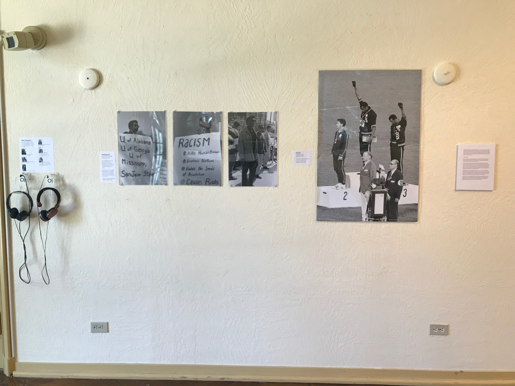Figure 2.Power & Protest, community oral histories and poster of Tommie Smith'sand John Carlos's silent protest during the 1968 Summer Olympics in Mexico City.