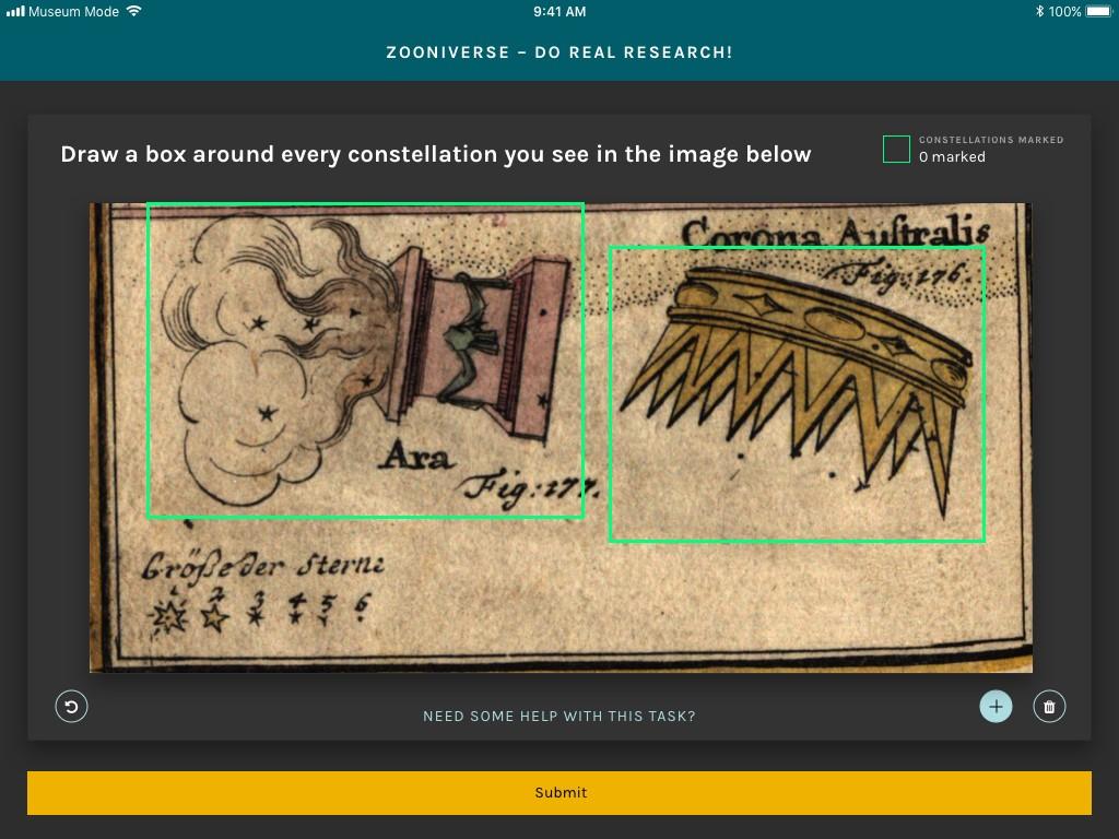 "Figure 3: Zooniverse iPad app ""Museum Mode."""