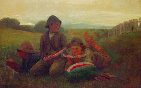 Figure 3: Winslow Homer,The Watermelon Boys, 1876. Oil on canvas, 38 1/8 x 24 1/8 in. New York, Cooper-Hewitt Museum.