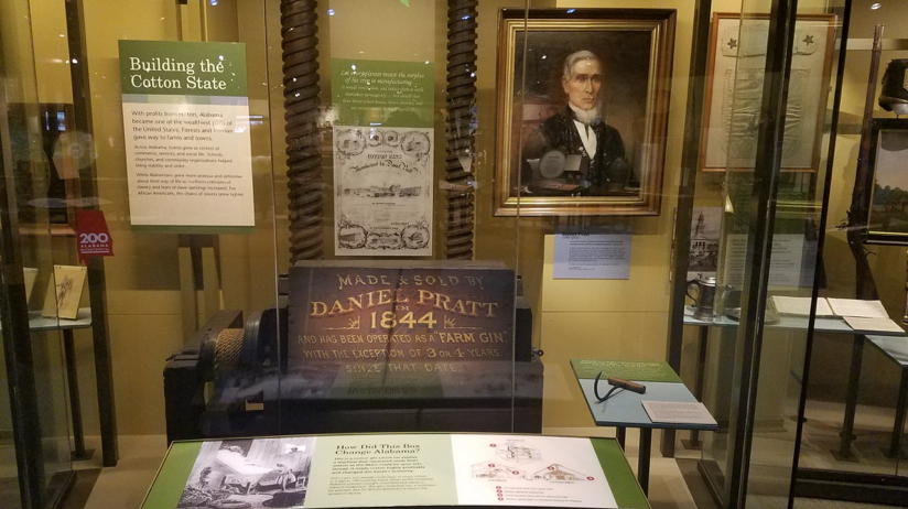 Figure 6. Display including cotton gin, Museum of Alabama.