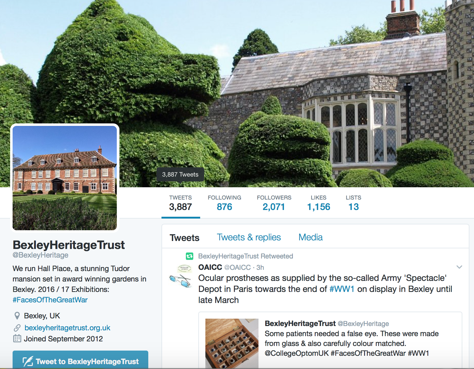 Twitter feed of Bexley Heritage Trust, @BexleyHeritage, featuring exhibitions, events, and more.