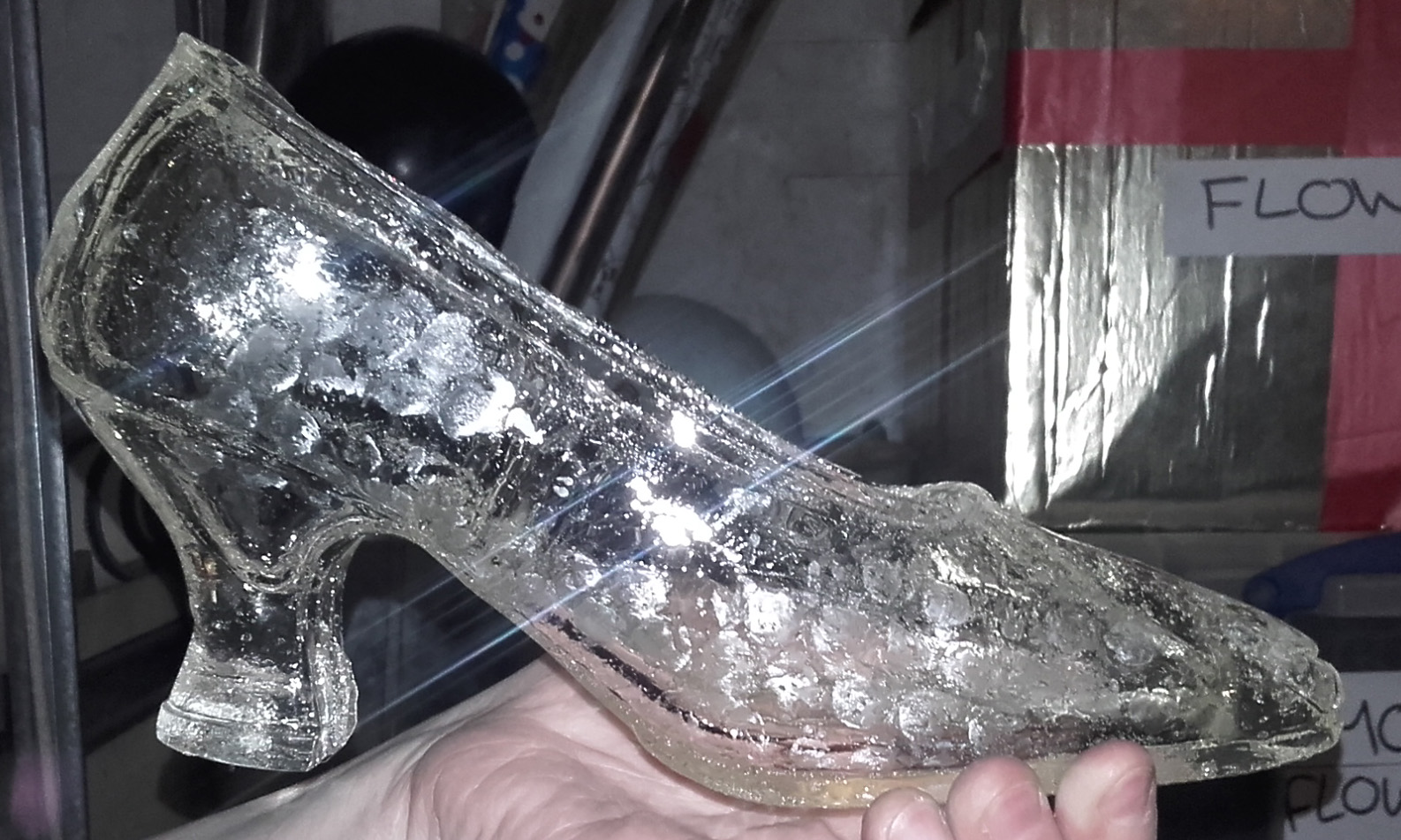 Figure 1: A Glass slipper held at the King's Theatre and used for the Cinderella Show.