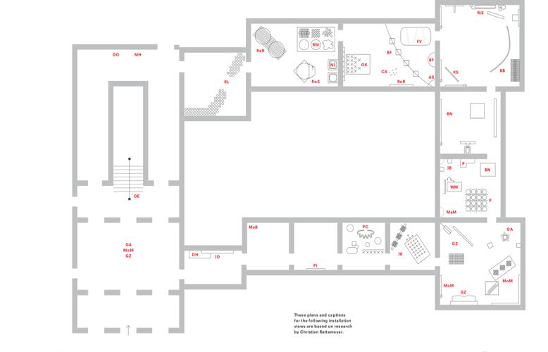 """Figure 2:Floorplan ofOp Losse Schroeven, from Rattemeyer, """"Op Losse Schroeven,""""Exhibiting New Art, 67."""