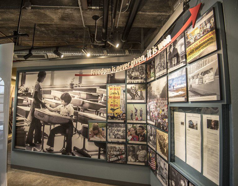 Figure 3. Photo Mosaic wall showing events relating to freedom. Niagara Falls UndergroundRailroad Heritage Center, Freedom Gallery. Courtesy of James Neiss/Niagara Gazette.