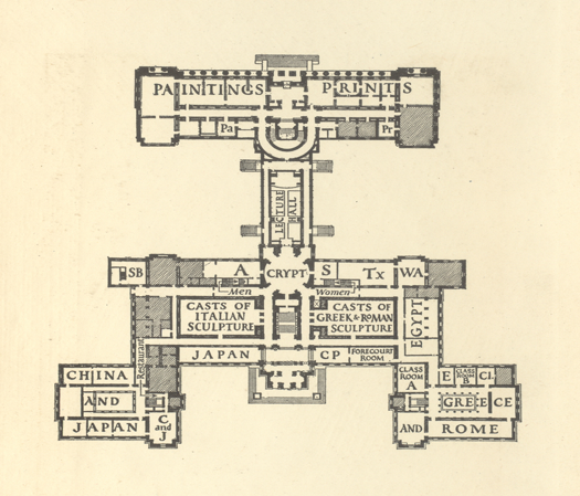 Figure 2: Floor plan for the Boston Museum of Fine Arts. New American Art Museums.