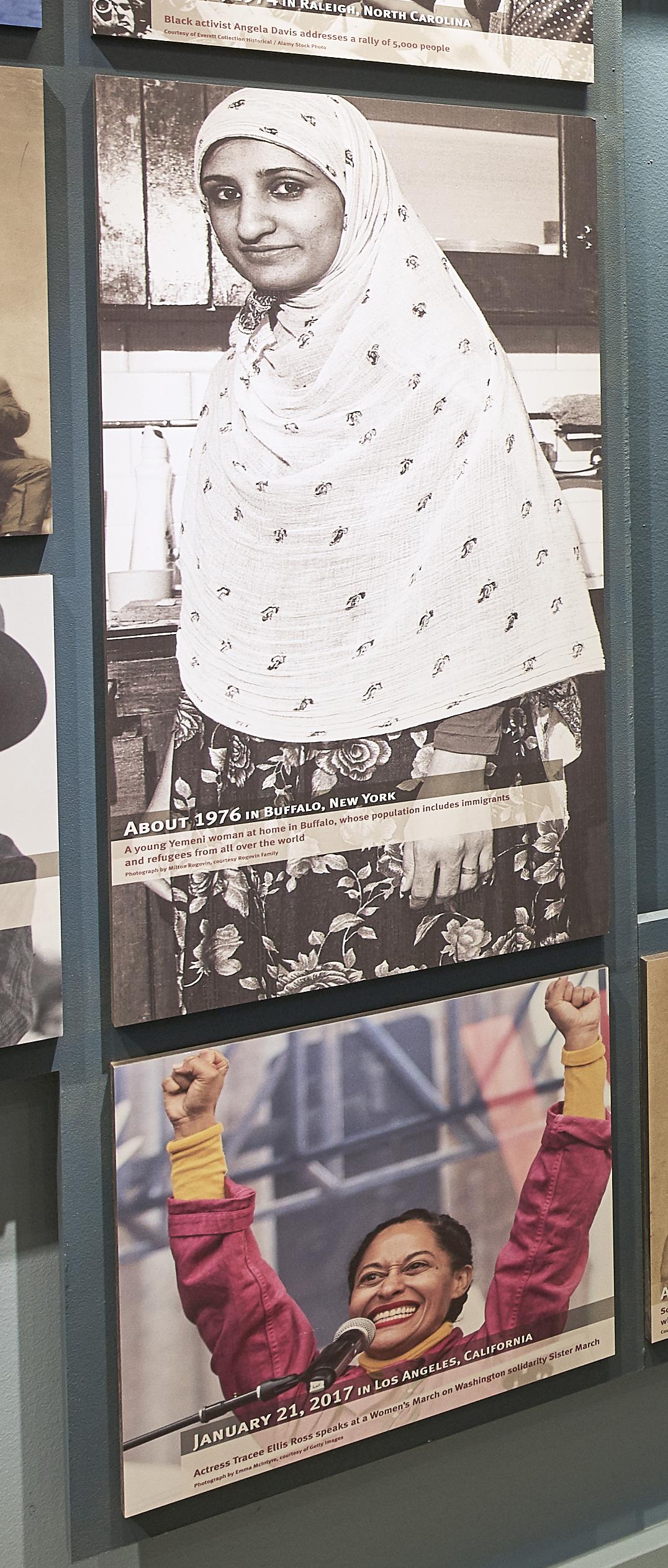 Figure 4. Detail view of installed exhibit photo mosaic graphics. Adjacentphoto snapshot graphic panels. Niagara Falls Underground Railroad HeritageCenter, Freedom Gallery. Photo: Copyright 2018 Kim Smith Photo and SethFrankel/Studio Tectonic.