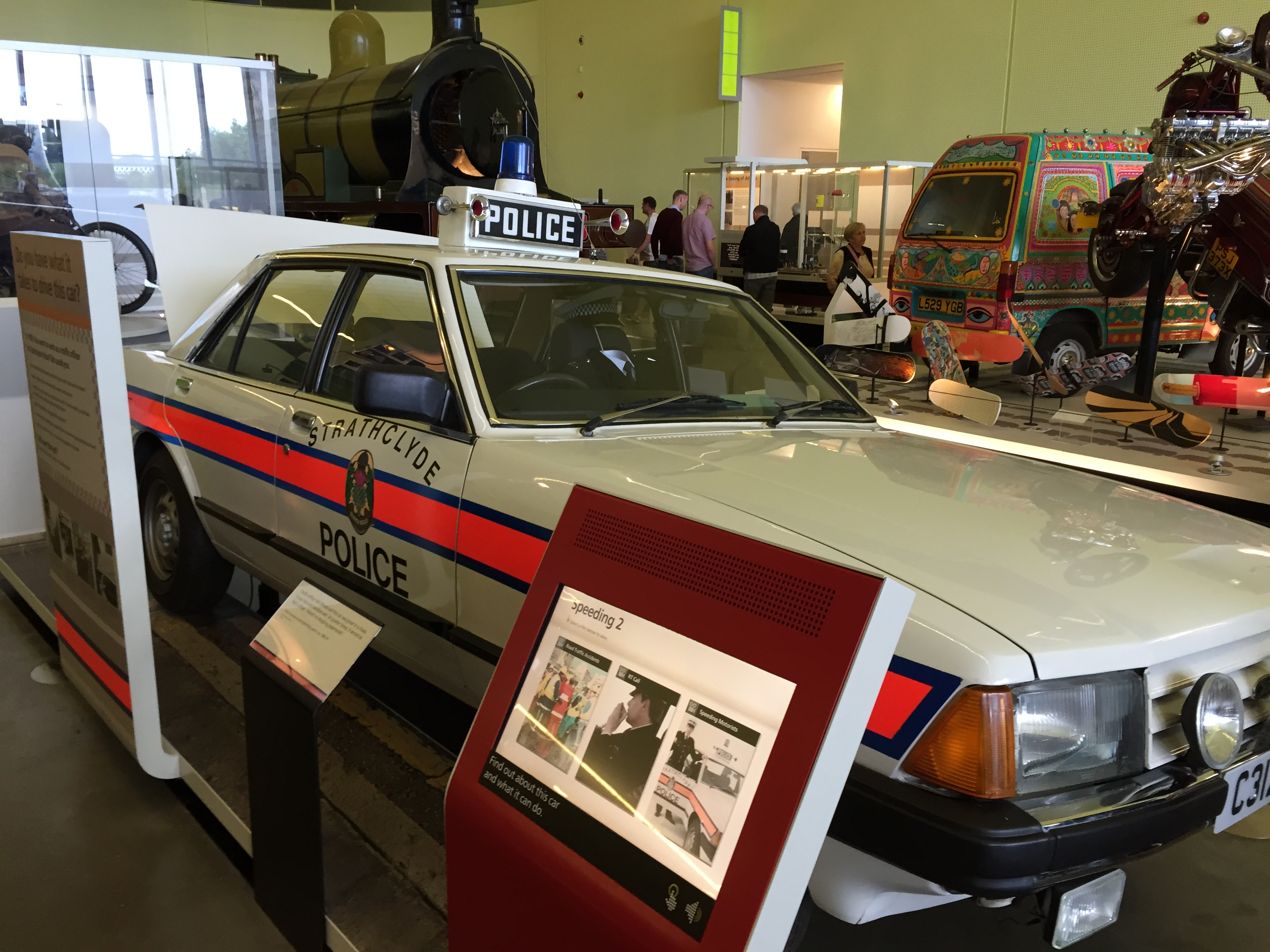 Figure 2: A police car exhibit, at the Riverside Museum of Transport and Travel in Glasgow. Photo by author.